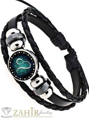 Черна кожена гривнав синьо-зелено,  зодия Лъв, регулираща се дължина - MG1152