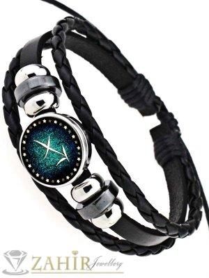 Черна кожена гривна в синьо-зелено, зодия Стрелец, регулираща се дължина - MG1157