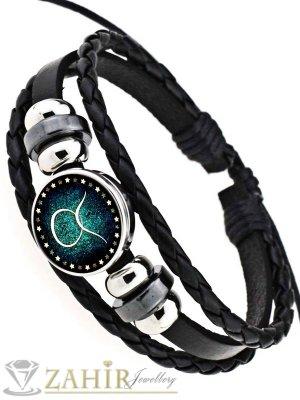Черна кожена гривна в синьо-зелено, зодия Телец, регулираща се дължина - MG1158