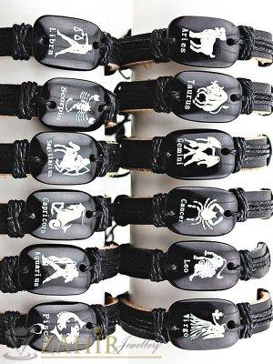 Черна кожена гривна с плочка със зодия - избери своята, регулираща се дължина - MG1159