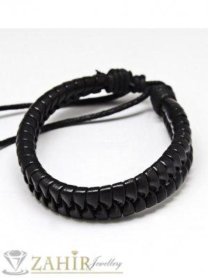 Черна кожена плетена гривна широка 1 см, регулираща се дължина - MG1160