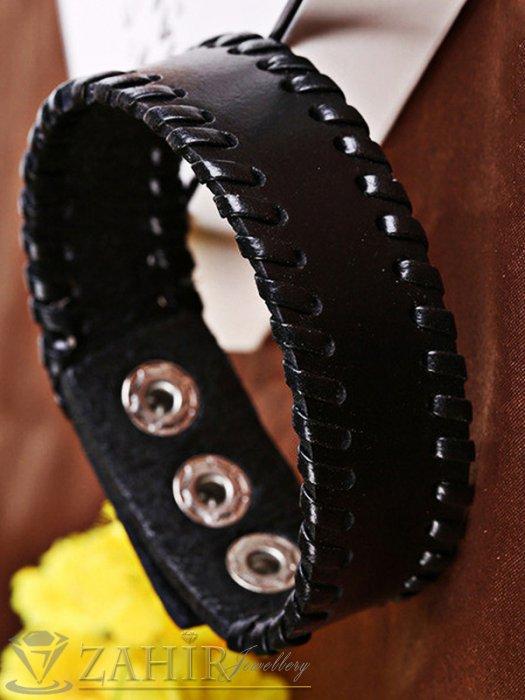Класическа черна кожена гривна 23 см от естествена кожа, 3 степени на закопчаване - MG1168