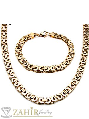 Топ-Хит масивен стоманен позлатен римски ланец 60 см и гривна в 4 размера, широки 0,8 см - MKO1033
