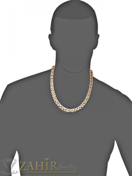 Бижута за мъже - Топ-Хит масивен стоманен  позлатен римски ланец 60 см и гривна 22 см, широки 1,2 см- MKO1033