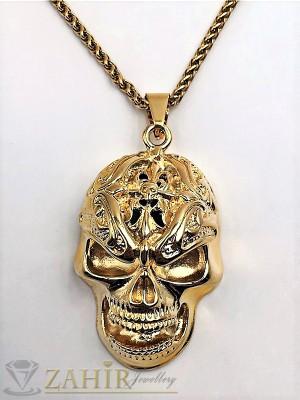 Масивен стоманен гравиран череп 6,5 см на ланец 58 см, златно покритие - ML1210