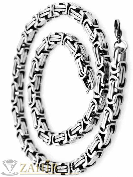 Бижута за мъже - Класическа стоманена верига 60 см римска плетка, широка 0,6 см, високо качество, не променя цвета си - ML1234