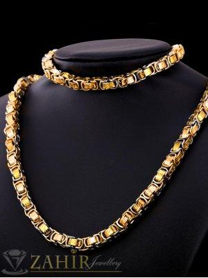 Масивен гравиран стоманен ланец 60 см и гривна 21 см, широки 0,8 см, златно покритие - ML1236