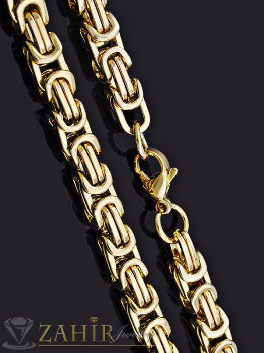 Бижута за мъже -  Масивен стоманен ланец 60 см с двойна позлата, византийска плетка, широк 0,7 см - ML1250