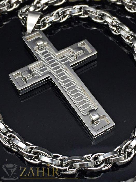 Бижута за мъже - Атрактивен гравиран кръст 6 см на ланец 60 см, широк 0,6 см, неръждаема стомана - ML1252