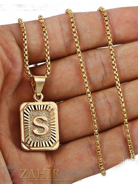 Бижута за мъже - Изящна малка 2,5 см висулка с инициал буква - A, B, C- Z, 26 модела на стоманен ланец 60 см, златно покритие - ML1273