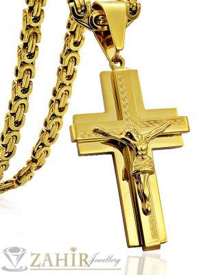 Класически двойно позлатен стоманен кръст 5 см на римски ланец 60 см, златно покритие - ML1275