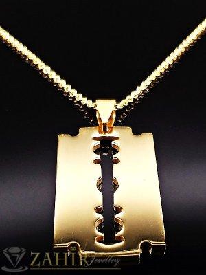 Позлатена стоманена висулка бръснарско ножче 4 см, на тънък стоманен ланец 50 см, златно покритие - ML1283