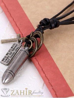 Регулиращо се черно кожено колие с висулка метален куршум - 5 см и елементи - MP1064