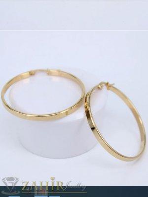 ТОП ХИТ модел халки от медицинска стомана,диаметър 6 см,широки 0,2 см английско закопчаване, златно покритие - O2312