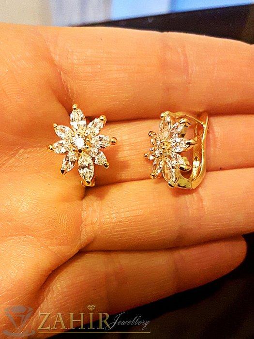Кристални обеци с блестящи цветя 1,6 см, златно покритие, английско закопчаване - O2342