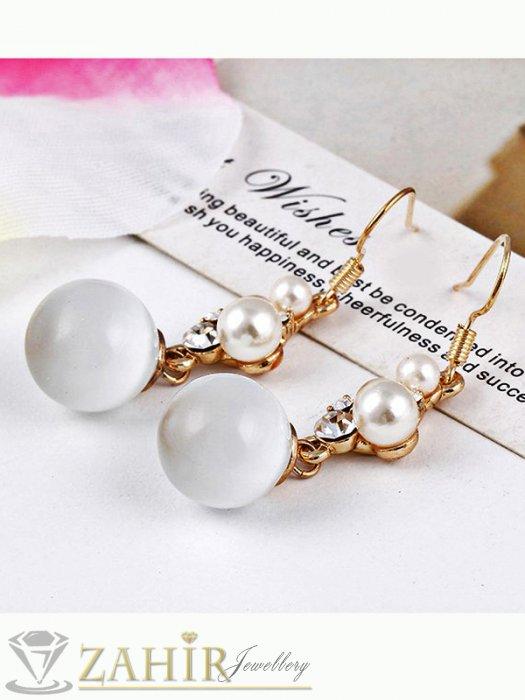 Дамски бижута - Висящи обеци с перли и опал 4 см, изящно изработени, златно покритие - O2355