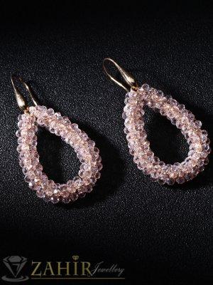 Ръчно изработени 6 см обеци с кристални мъниста цвят розов хамелеон, на кукичка - O2384