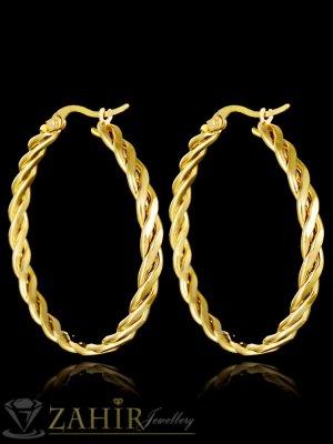 Изящно изработени двойно завити халки 2,5 см, златно покритие, английско закопчаване - O2390