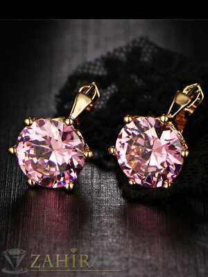 Луксозни позлатени обеци с голям фасетиран розов кристал, английско закопчаване - O2422