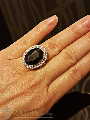 Кралски великолепен пръстен с голям черен кристал и златно покритие - P1432