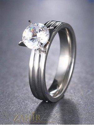 Елегантен романтичен пръстен от най-висок клас стомана с голям бял циркон - P1436