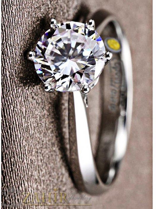 Дамски бижута - Непроменящ цвета си класически стоманен пръстен с красив бял циркон, годежен - P1466