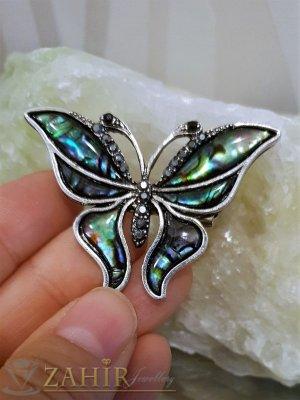 Великолепна пеперуда от мексикански севдеф 5 см с графитени кристали, сребърно покритие - B1085