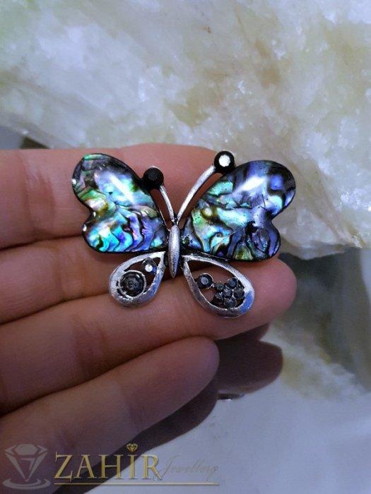Дамски бижута - Великолепна пеперуда от мексикански севдеф 4 см с графитени кристали, сребърно покритие - B1086