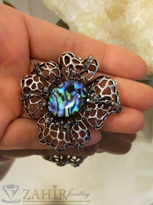 Дамски бижута - Изящно изработено цвете от мексикански седеф 6 см с графитени кристали, сребърно покритие - B1088