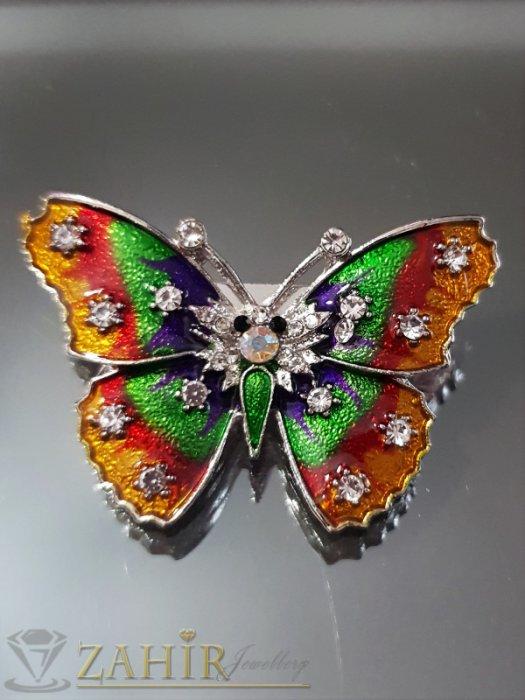 Много нежна цветна пеперуда на брошка 4 см с блестящ цветен емайл и бели кристали, сребърно покритие - B1105