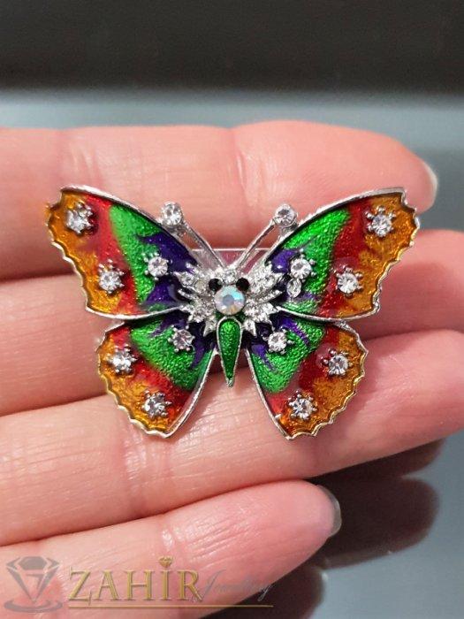 Дамски бижута - Много нежна цветна пеперуда на брошка 4 см с блестящ цветен емайл и бели кристали, сребърно покритие - B1105