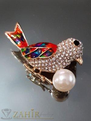 Перлена кристална птица на брошка 5 см с цветен емайл и златно покритие - B1106