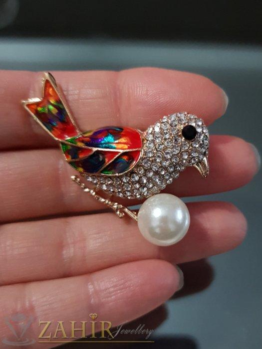 Дамски бижута - Перлена кристална птица на брошка 5 см с цветен емайл и златно покритие - B1106