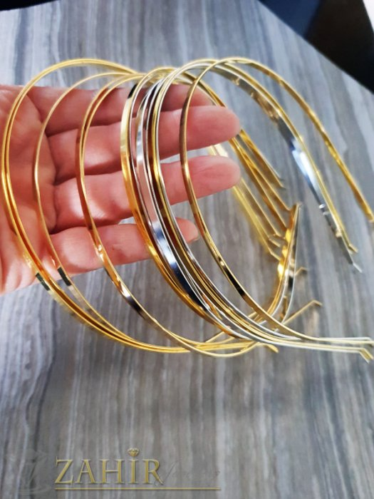 Аксесоари за коса - Златиста или сребриста метална диадема, лъскава - D1118