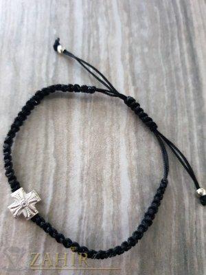 Ръчно плетена гривна от черна корда с елемент метален кръст, регулираща се - E1001