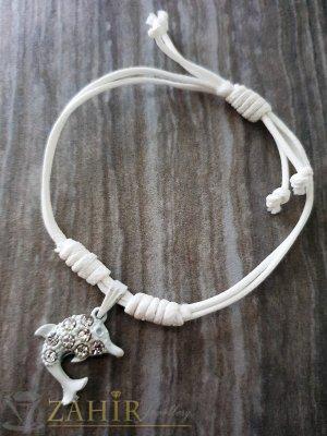 Бяло делфинче с кристали на бяла регулираща се гривна от ваксова корда - E1014
