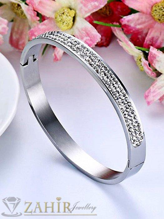 Дамски бижута - Висококачествена стоманена гривна тип бенгъл с кристал, диаметър 6,5 см - G1952