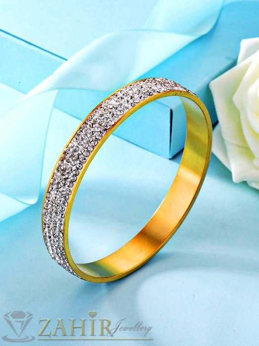 Дамски бижута - Висококачествена стоманена позлатена гривна тип бенгъл с кристал, диаметър 6,5 см - G1953