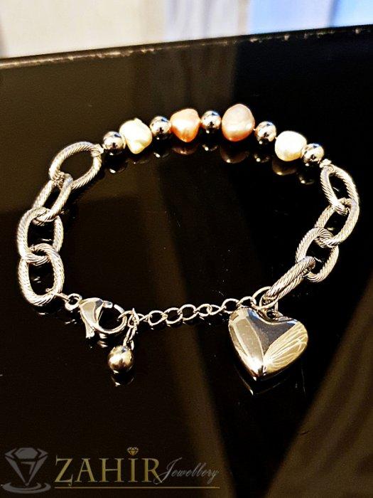 Дамски бижута - Непроменяща цвета си стоманена гривна 17 + 4 см с естествени перли и висулка сърце - G1958