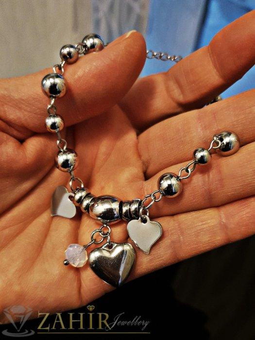 Дамски бижута - Великолепна непроменяща цвета си стоманена гривна 17 + 5 см с висулка сърце и кристал - G1962