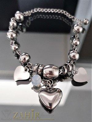 Великолепна непроменяща цвета си стоманена гривна 17 + 5 см с висулка сърце и кристал - G1962