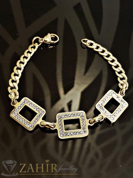 Дамски бижута - Позлатена стоманена гривна с кристали, дълга 21 см, регулираща се - G1966