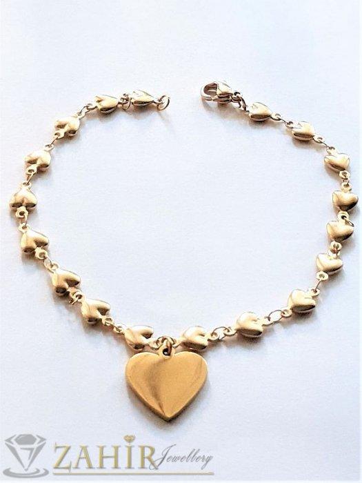 Дамски бижута - ХИТ стоманена гривна с верижка от нежни сърца и висулка полирано сърце 1,8 см, 4 дължини - G1969