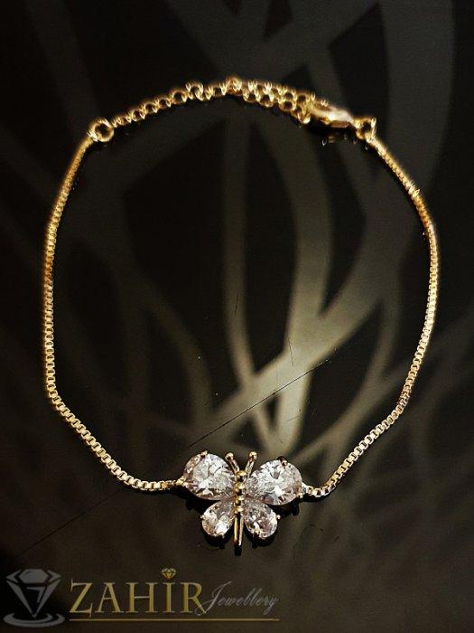 Дамски бижута - Великолепна кристална пеперуда на нежна позлатена гривна за ръка или крак, дълга 19 + 7 см - G1970