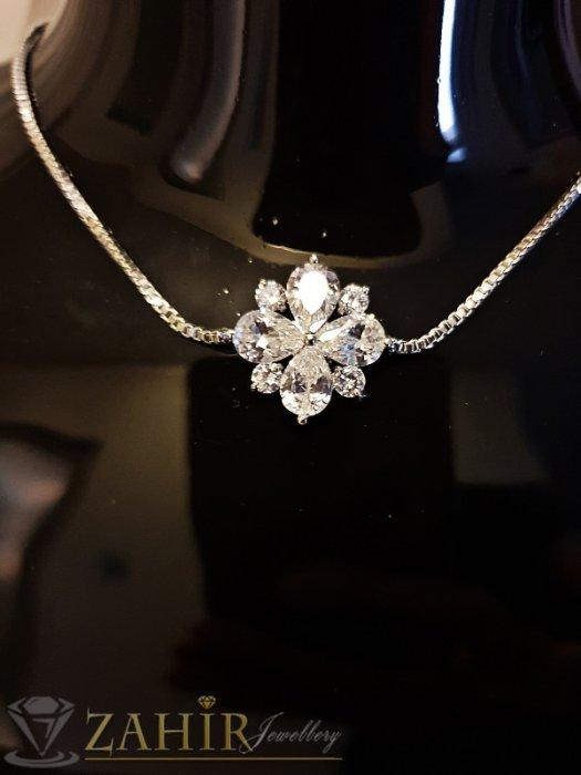 Дамски бижута - Блестящо кристално цвете на тънка посребрена гривна за ръка или крак, дълга 19 + 7 см - G1971