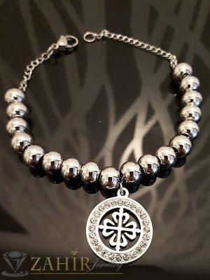 Висококачествена стоманена гривна с метални топчета и висука кристално цвете, дълга 16 + 5 удължител - G1988