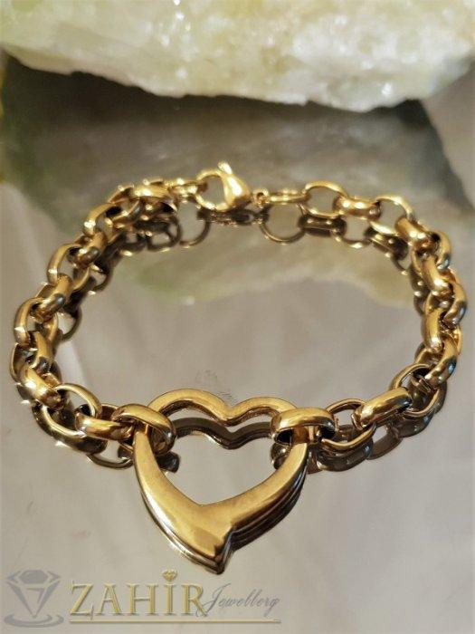 Дамски бижута - Великолепна стоманена верижка със златно покритие, висулка сърце, 4 дължини - G1989