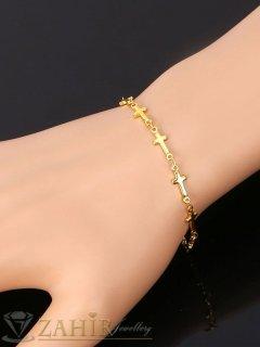 Позлатена стоманена нежна гривна  за ръка или крак със кръстове, регулираща се дължина - G1991