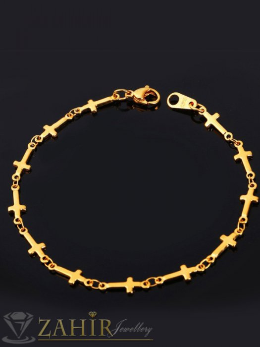 Дамски бижута - Позлатена стоманена нежна гривна със кръстове, налична в 3 размера - G1991