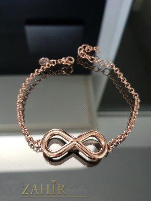Розово златно покритие с елемент безкрайност на стоманена гривна дълга 18 см с удължител 5 см - G1996